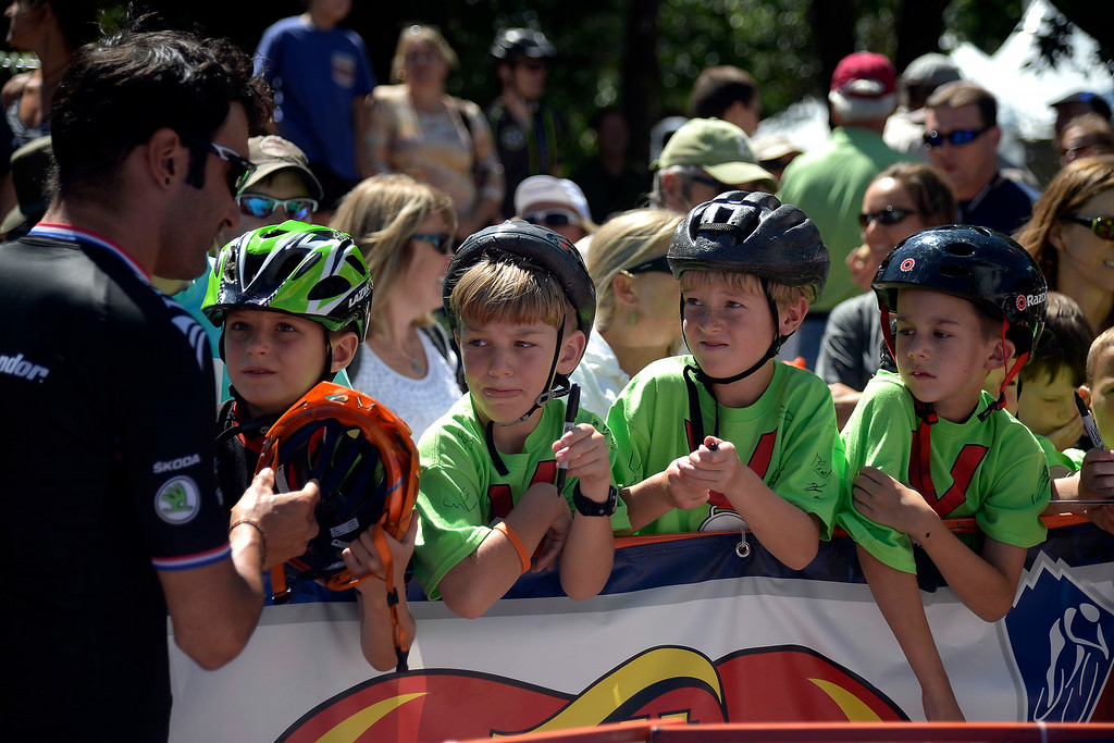 . Young fans stand in line for autographs before the start of stage 7. The USA Pro Challenge stage 7 on Sunday, August 24, 2014. (Photo by AAron Ontiveroz/The Denver Post)