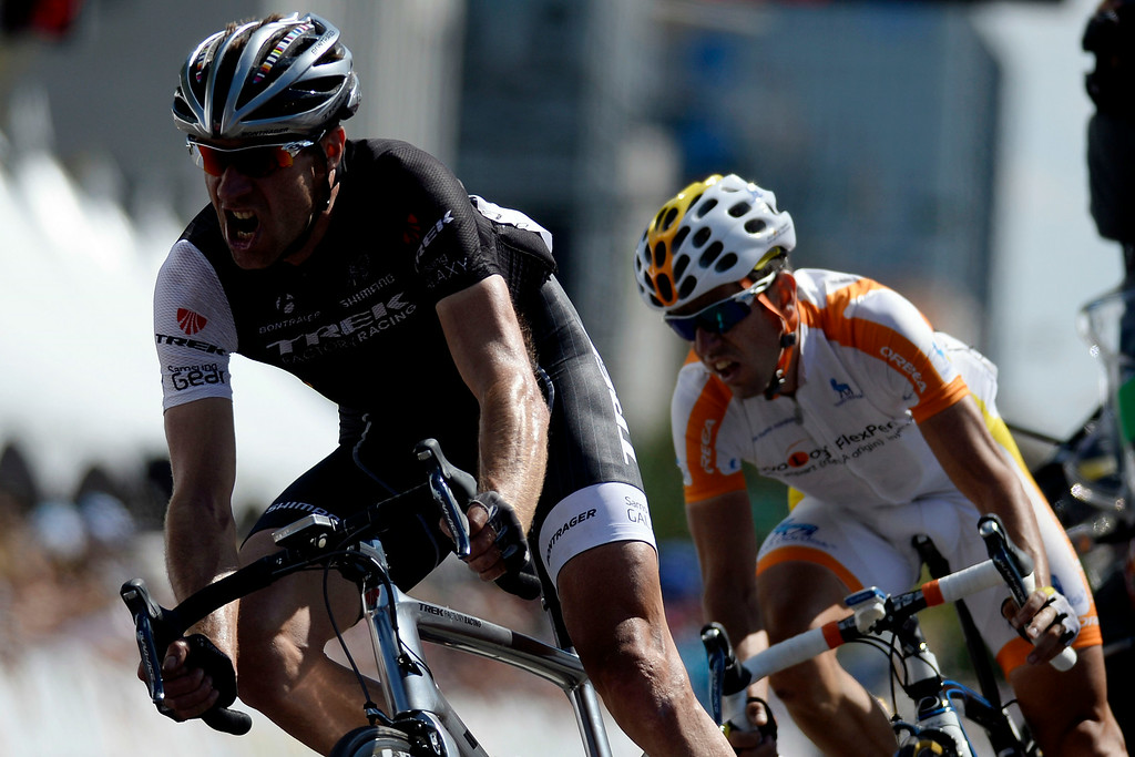 . Jens Voigt leads Javier Megias Leal entering the final lap of stage 7. The USA Pro Challenge stage 7 on Sunday, August 24, 2014. (Photo by AAron Ontiveroz/The Denver Post)