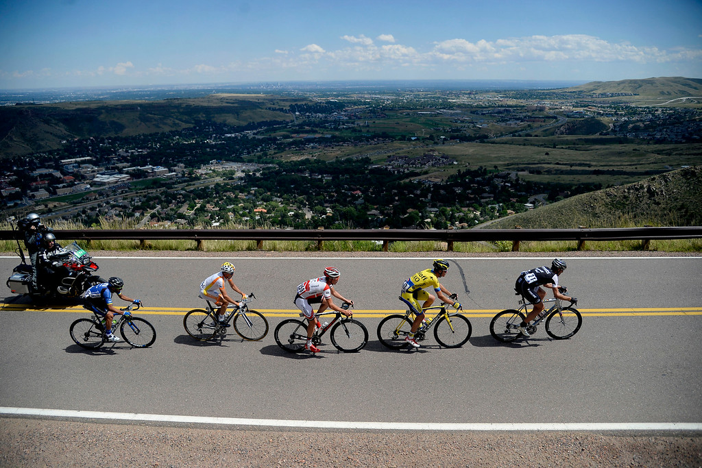 . Jens Voigt leads a pack of riders including from right to left Michael Rogers, Ruben Zepuntke, Javier Megias Leal and Tiago Machado during a climb over Lookout Mountain. The USA Pro Challenge stage 7 on Sunday, August 24, 2014. (Photo by AAron Ontiveroz/The Denver Post)