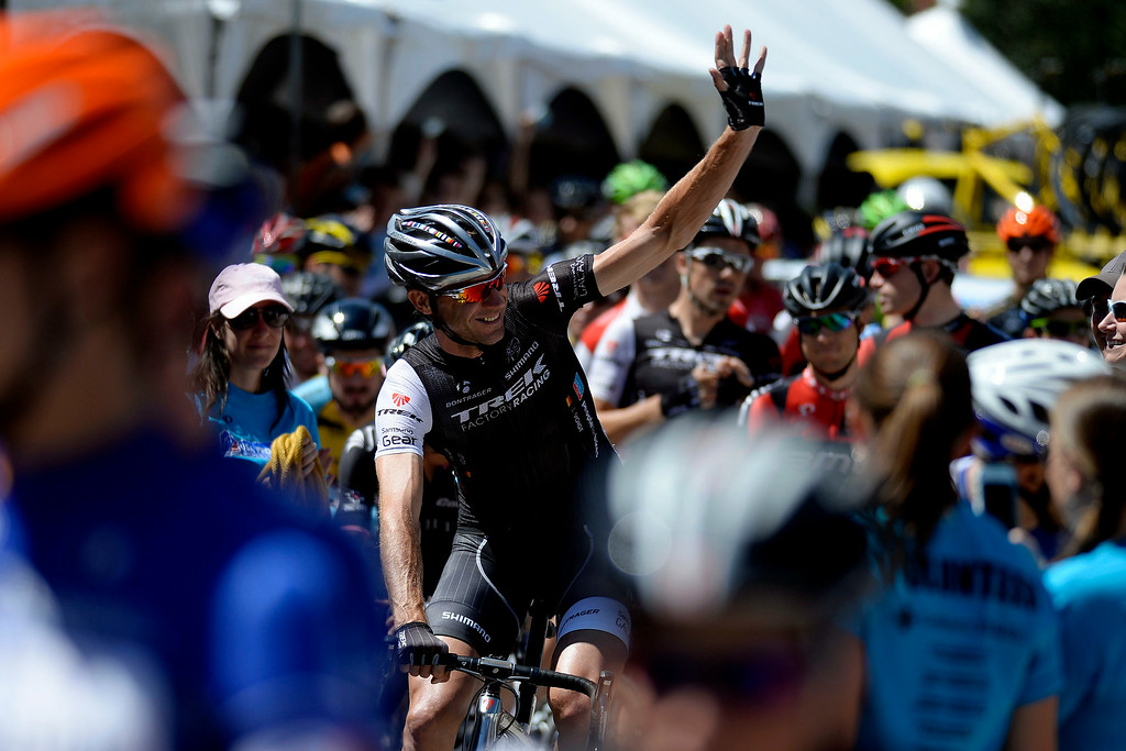 . Cycling legend Jens Voigt waves to fans before the start of his final USA Pro Challenge. The USA Pro Challenge stage 7 on Sunday, August 24, 2014. (Photo by AAron Ontiveroz/The Denver Post)