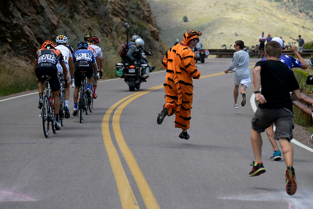 . Fans run alongside the lead pack during stage 7 on Lookout Mountain. The USA Pro Challenge stage 7 on Sunday, August 24, 2014. (Photo by AAron Ontiveroz/The Denver Post)