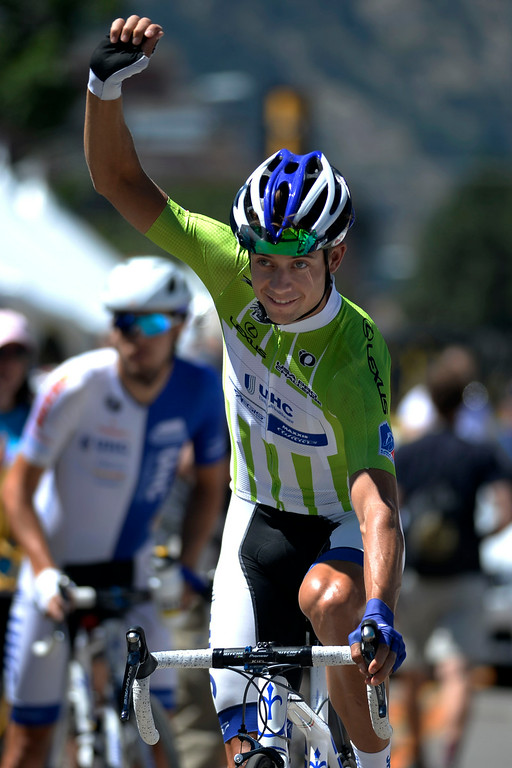 . Kiel Reijnen waves to his hometown crowd before the start of stage 7. The USA Pro Challenge stage 7 on Sunday, August 24, 2014. (Photo by AAron Ontiveroz/The Denver Post)
