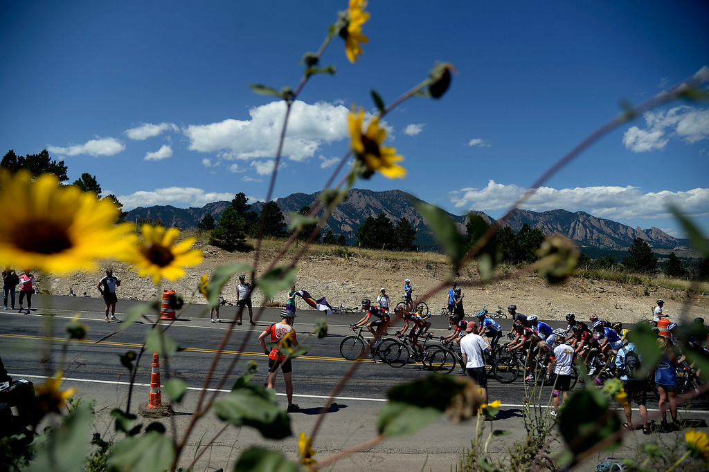 . Riders make a small climb between Golden and Boulder during stage 7. The USA Pro Challenge stage 7 on Sunday, August 24, 2014. (Photo by AAron Ontiveroz/The Denver Post)