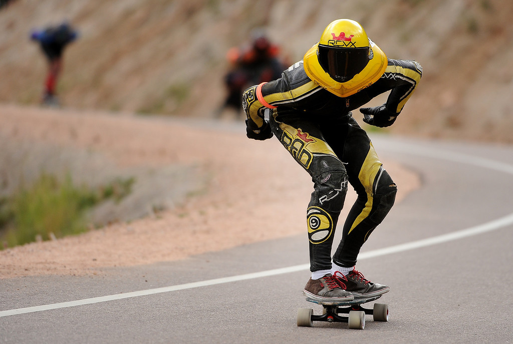 . Louis Pilloni focuses on the road ahead as he races down the 1.4-mile course on Pikes Peak.  Photo by Helen H. Richardson/The Denver Post