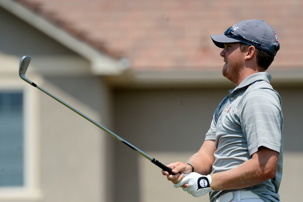. Champion Ian Davis hits a tee shot on the back nine during the Colorado Open.   (Photo by AAron Ontiveroz/The Denver Post)