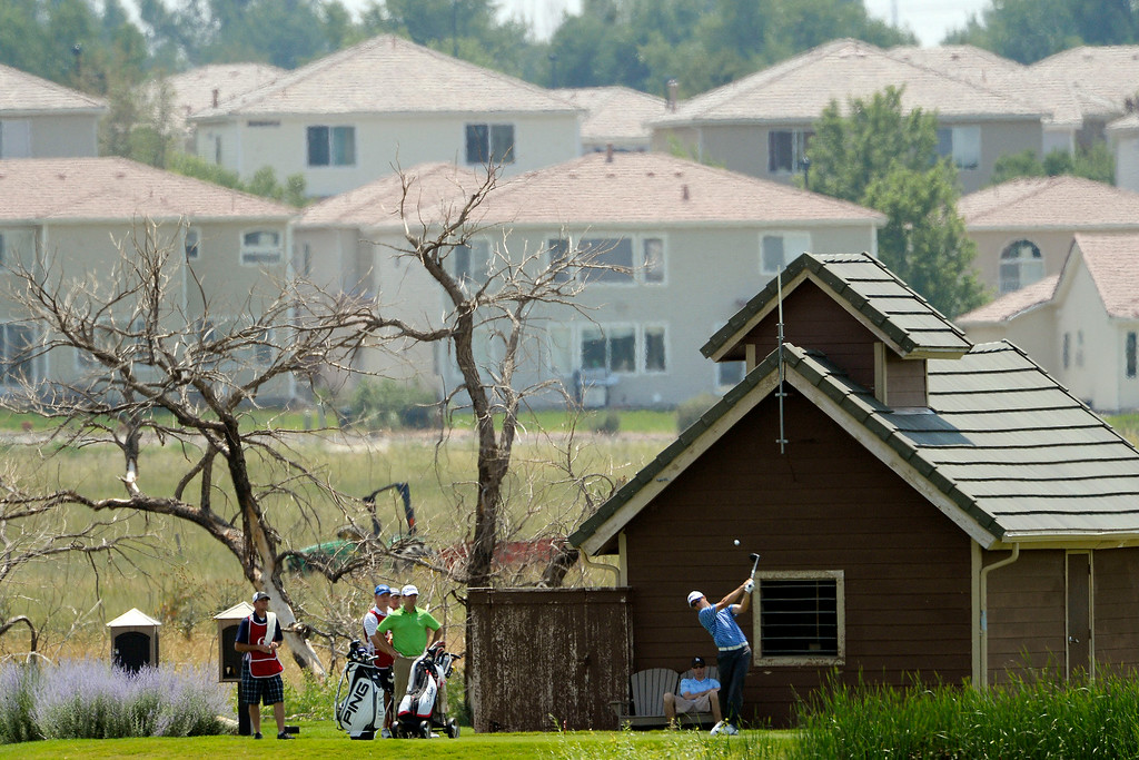. Brandon Hagy hits a tee shot on the back nine during the Colorado Open.   (Photo by AAron Ontiveroz/The Denver Post)