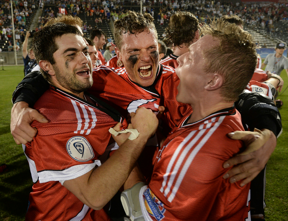 . COMMERCE CITY, CO - JULY 19:  Canada defeated the United States 8-5 in the FIL World Lacrosse Championship game Saturday night, July 19, 2014.  Photo by Karl Gehring/The Denver Post