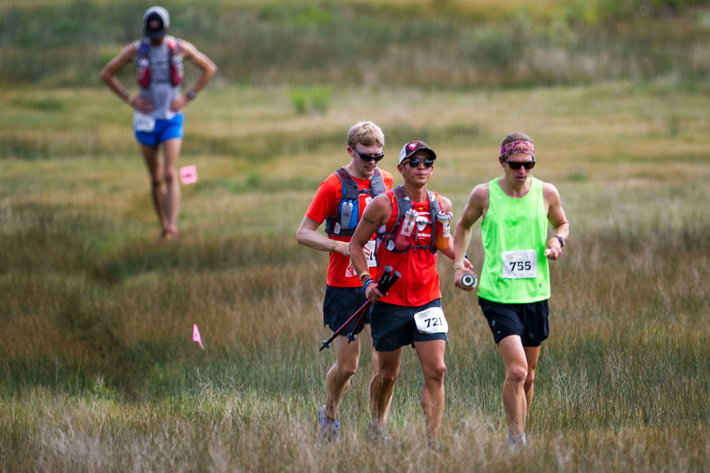 . Runners, lead by Kyle Young #755 make their way along Gordon Gulch during the 2014 Leadville Trail 100 ultramarathon on Saturday, August 16, 2014 in Twin Lakes, Colorado.  (Photo by Kent Nishimura/The Denver Post)