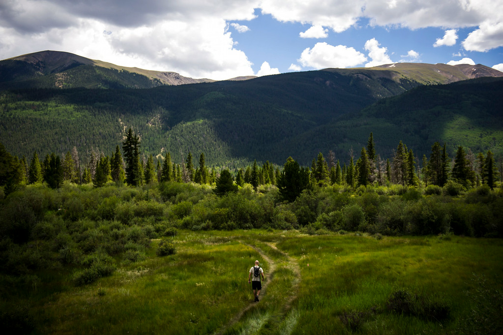 . A lone runner makes their way along Gordon Gulch during the 2014 Leadville Trail 100 ultramarathon on Saturday, August 16, 2014 in Twin Lakes, Colorado.  (Photo by Kent Nishimura/The Denver Post)