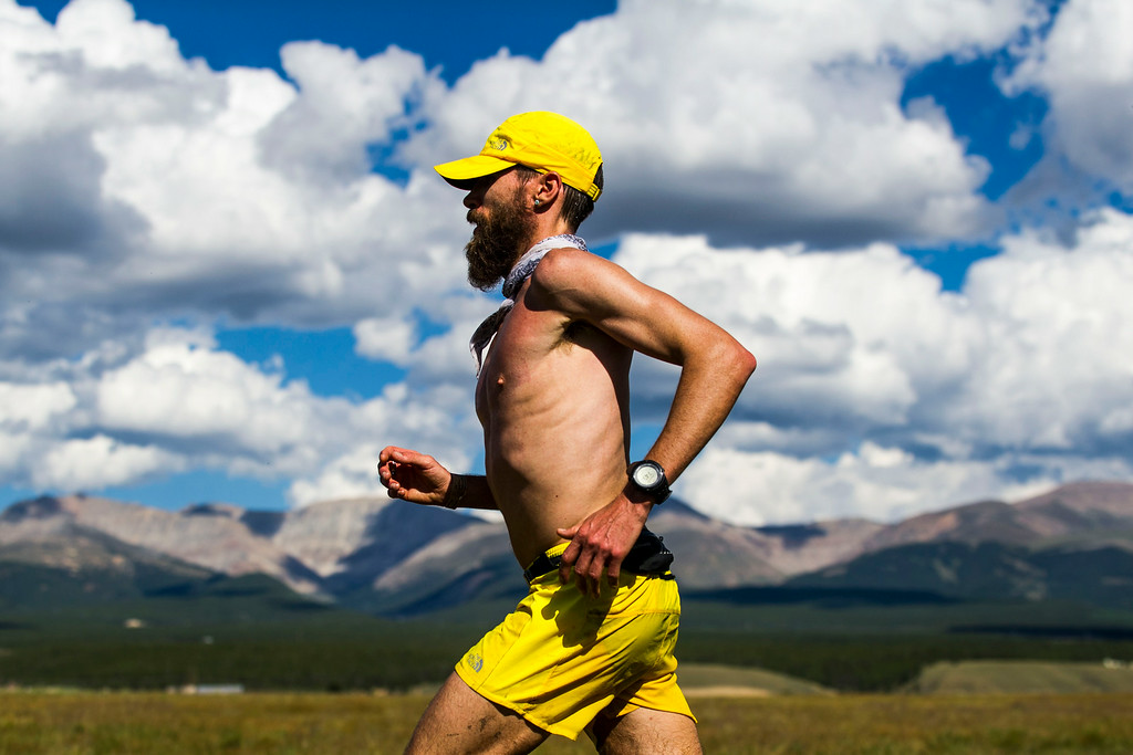 . Runner Rob Krar #376 is seen running towards the Outward Bound Colorado aid station during the 2014 Leadville Trail 100 ultramarathon on Saturday, August 16, 2014 in Leadville, Colorado.  (Photo by Kent Nishimura/The Denver Post)