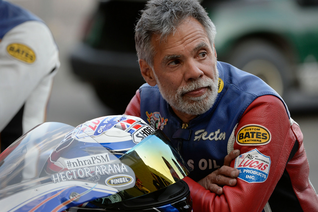 . MORRISON, CO. - JULY 18:  Pro Stock motorcycle rider, Hector Arana, in the staging area Friday evening, July 18, 2014 during the 2014 Mopar Mile High NHRA Nationals at Bandimere Speedway. (Photo By Andy Cross / The Denver Post)