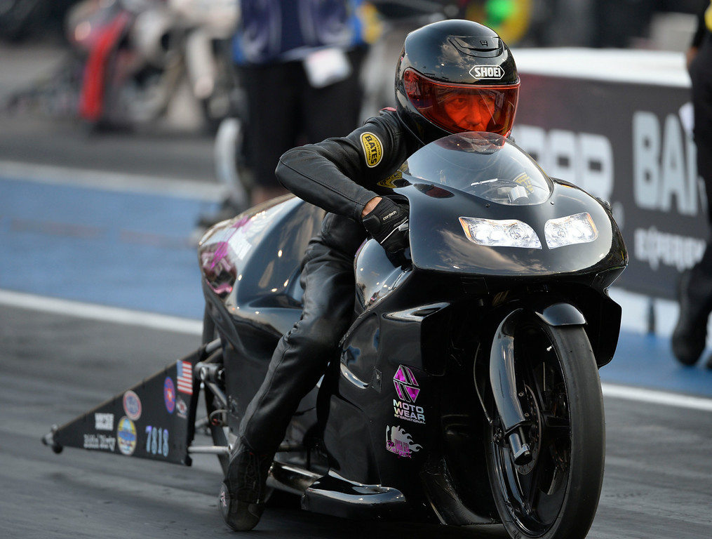 . MORRISON, CO. - JULY 18:  Pro Stock motorcycle rider, Charlie Sullivan, takes off Friday evening, July 18, 2014 during the 2014 Mopar Mile High NHRA Nationals at Bandimere Speedway. (Photo By Andy Cross / The Denver Post)