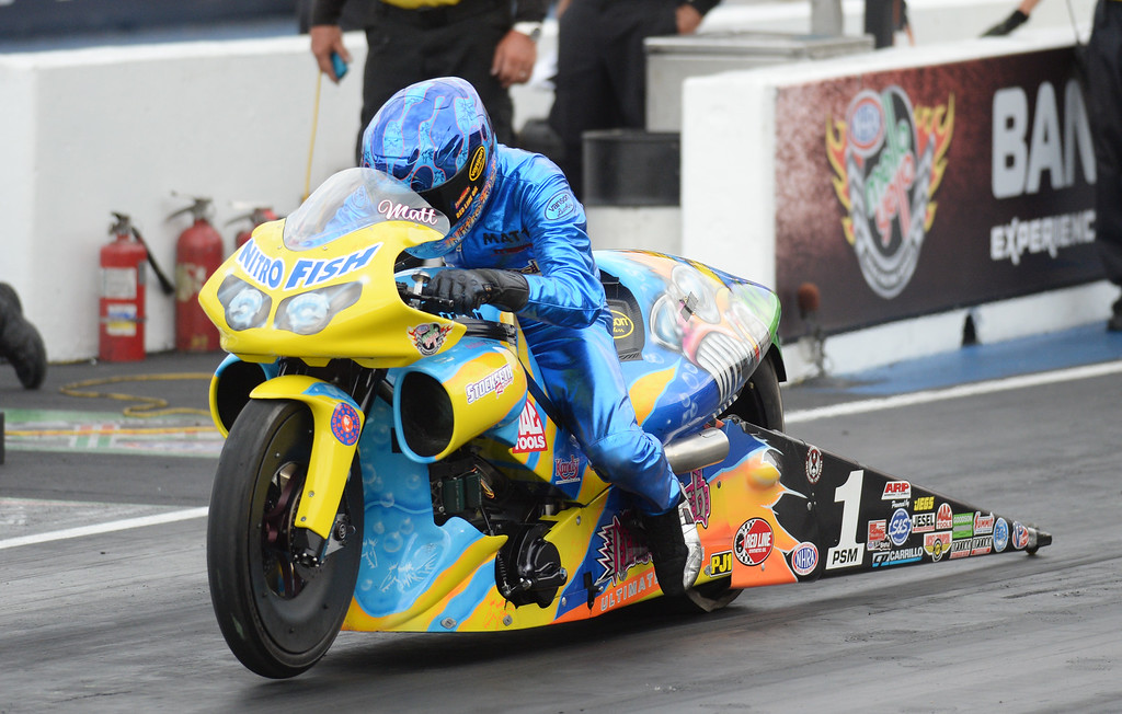 . MORRISON, CO - JULY 19: Pro Stock Motorcycle racer Matt Smith is in action during Mopar Mile-High NHRA Nationals at Bandimere Speedway. Morrison, Colorado. July 19. 2014. (Photo by Hyoung Chang/The Denver Post)
