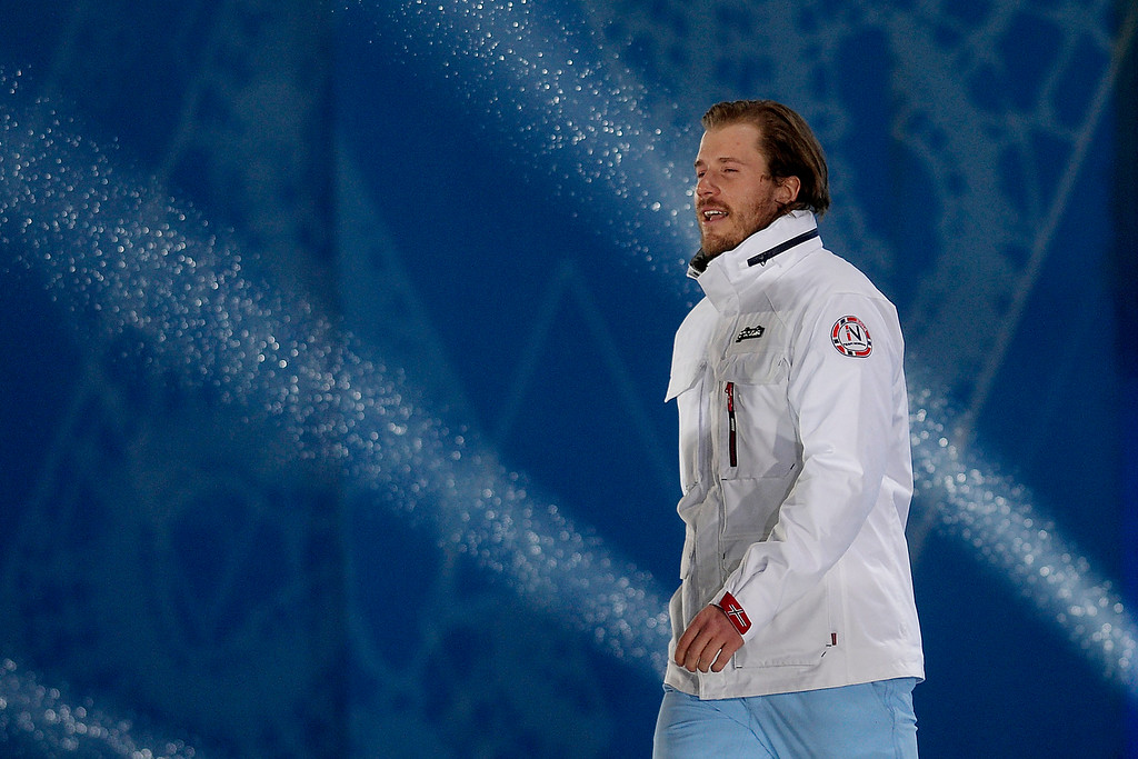 . Gold medalist Kjetil Jansrud of Norway takes the stage during the evening medals ceremony for the men\'s Super G ski race. (Photo by AAron Ontiveroz/The Denver Post)