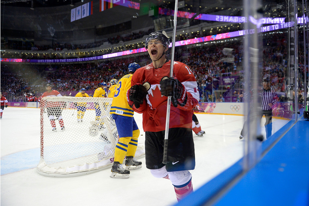 . during the third period of Canada\'s 3-0 win in the men\'s ice hockey gold medal game against Sweden. Sochi 2014 Winter Olympics on Sunday, February 23, 2014 at Bolshoy Ice Arena. (Photo by AAron Ontiveroz/ The Denver Post)