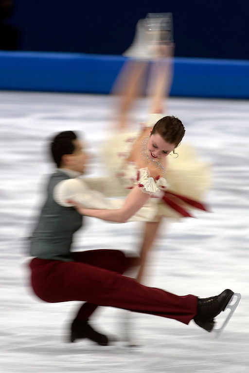. Italian skaters Luca Lanotte and Anna Cappellini perform during the figure skating ice dancing free dance medal round. Sochi 2014 Winter Olympics on Monday, February 17, 2014. (Photo by AAron Ontiveroz/The Denver Post)
