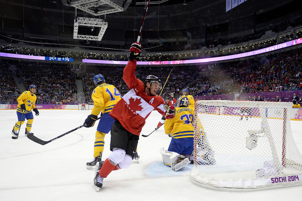 . Jonathan Toews (16) of Canada celebrates his 1-0 goal against Sweden during the first period of the men\'s ice hockey gold medal game. Sochi 2014 Winter Olympics on Sunday, February 23, 2014 at Bolshoy Ice Arena. (Photo by AAron Ontiveroz/ The Denver Post)