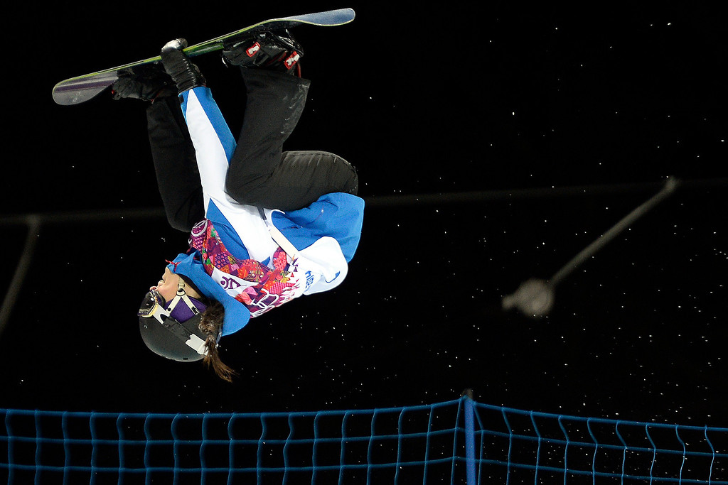 . France\'s Sophie Rodriguez makes her second run during a women\'s snowboard halfpipe final at the Rosa Khutor Extreme Park. Sochi 2014 Winter Olympics on Wednesday, February 12, 2014. (Photo by AAron Ontiveroz/The Denver Post)
