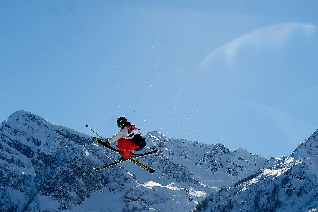. KRASNAYA POLYANA, RUSSIA - FEBRUARY 13: Gold medalist Joss Christensen makes a jump during the men\'s ski slopestyle final at the Rosa Khutor Extreme Park. Sochi 2014 Winter Olympics on Thursday, February 13, 2014. (Photo by AAron Ontiveroz/The Denver Post)