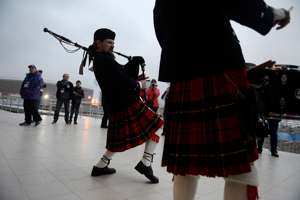 . Igor Vinogradov rocks a bagpipe before the men\'s curling matches. Sochi 2014 Winter Olympics on Sunday, February 16, 2014. (Photo by AAron Ontiveroz/The Denver Post)