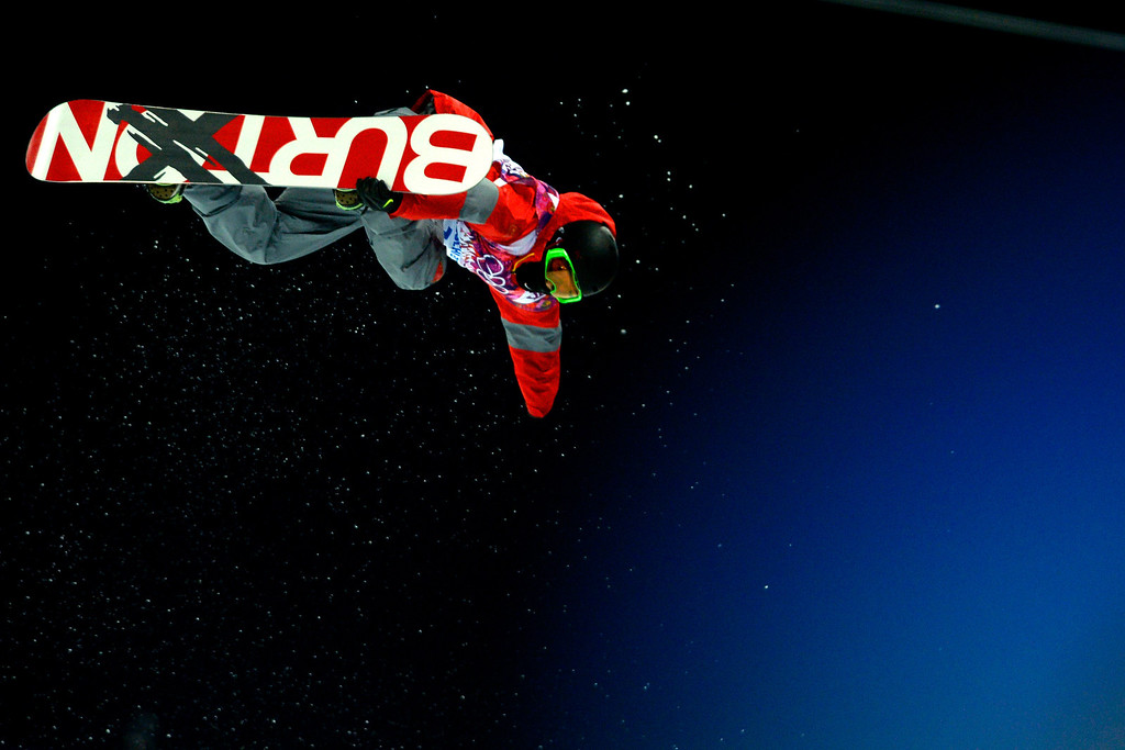 . China\'s Shi Wancheng rides during the men\'s snowboard halfpipe final on Tuesday, February 11, 2014. (Photo by AAron Ontiveroz/The Denver Post)
