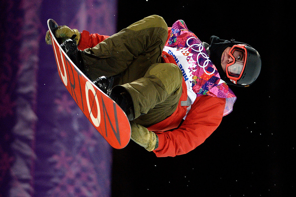 . Switzerland\'s Christian Haller rides during the men\'s snowboard halfpipe final on Tuesday, February 11, 2014. (Photo by AAron Ontiveroz/The Denver Post)