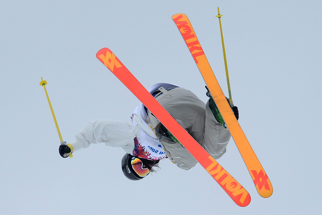 . Sweden\'s Emma Dahlstrom jumps during the women\'s ski slopestyle final on Tuesday, February 11, 2014. (Photo by AAron Ontiveroz/The Denver Post)