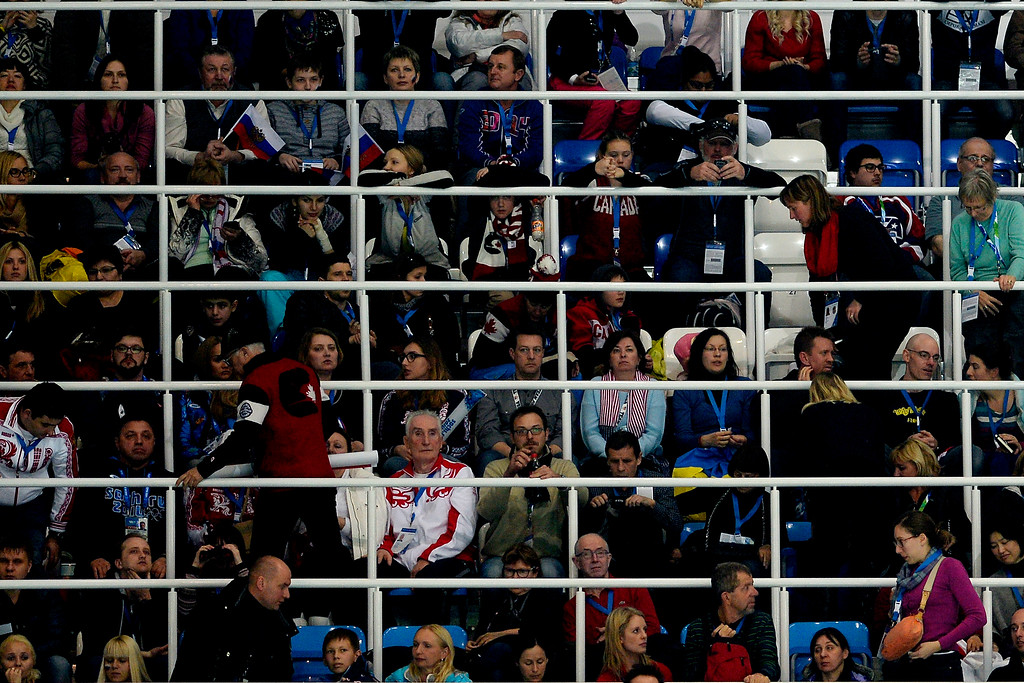 . Fans watch the ladies short program during team figure skating. Sochi 2014 Winter Olympics on Saturday, February 8, 2014. (Photo by AAron Ontiveroz/The Denver Post)