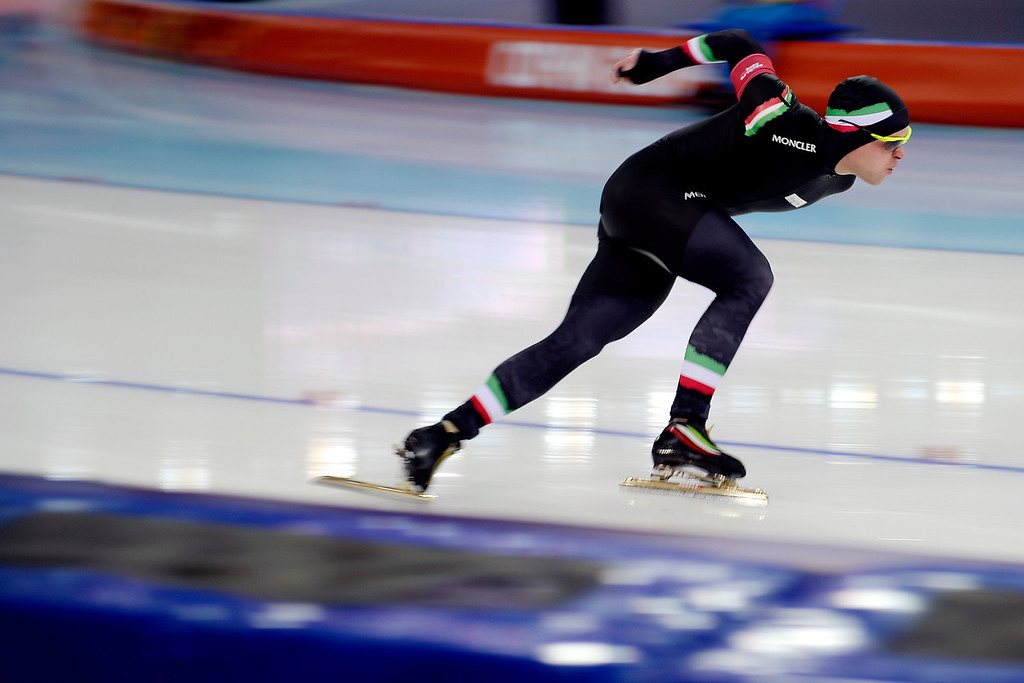 . Italy\'s David Bosa makes a turn during the speed skating men\'s 500-meter at Adler Arena on Monday, February 10, 2014. (Photo by AAron Ontiveroz/The Denver Post)