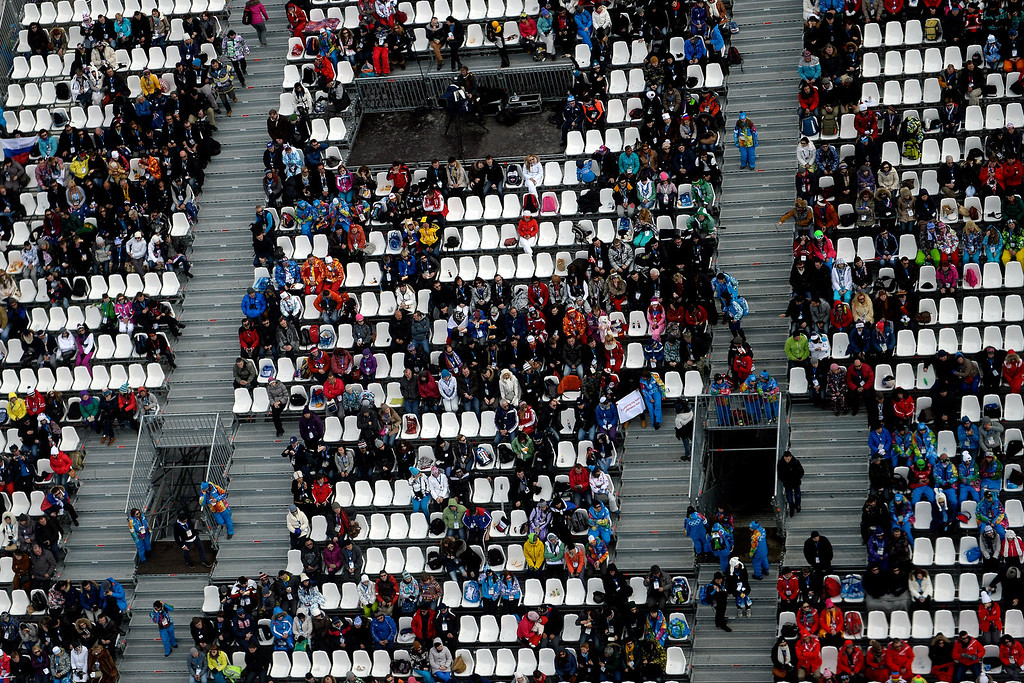 . Fans watch the women\'s snowboard slopestyle final during the Sochi 2014 Winter Olympics at the Rosa Khutor Etreme Park on Sunday, February 9, 2014. (Photo by AAron Ontiveroz/The Denver Post)