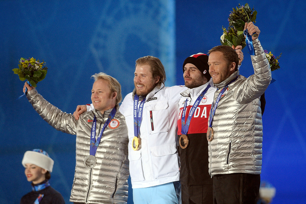 . Men\'s Super G medal winners, from left, are silver medal winner Andrew Weibrecht of the United States, gold medalist Kjetil Jansrud of Norway, bronze medalist Jan Hudec of Canada and bronze medalist Bode Miller of the United States during the evening medals ceremony. (Photo by AAron Ontiveroz/The Denver Post)