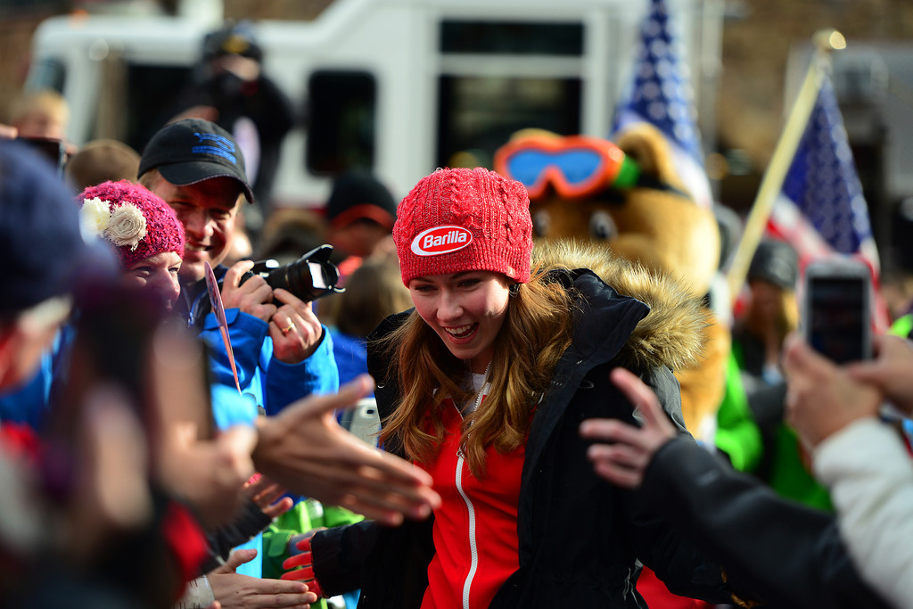 . VAIL, CO. - MARCH 28: Olympian Mikaela Shiffrin is welcomed home at a celebration held in her honor in Vail by the town of Vail, Vail Valley Foundation and Vail Resorts, March 28, 2014. The now 19-year-old Shiffrin became the youngest Slalom champion in Olympic Alpine Skiing history, with her .53 victory in Sochi over Austria\'s Marlies Schild. (Photo By Mahala Gaylord/The Denver Post)