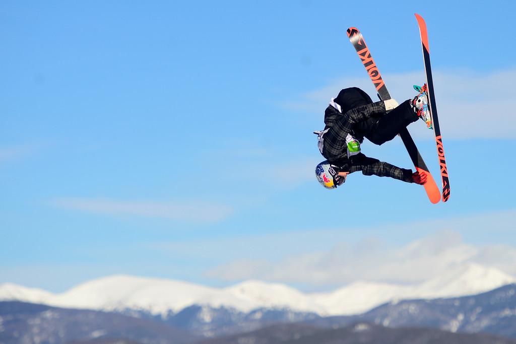 . Champion Nick Goepper skis during the men\'s ski slopestyle final at Breckenridge Ski Resort on Sunday, December 15, 2013.(Photo by AAron Ontiveroz/The Denver Post)