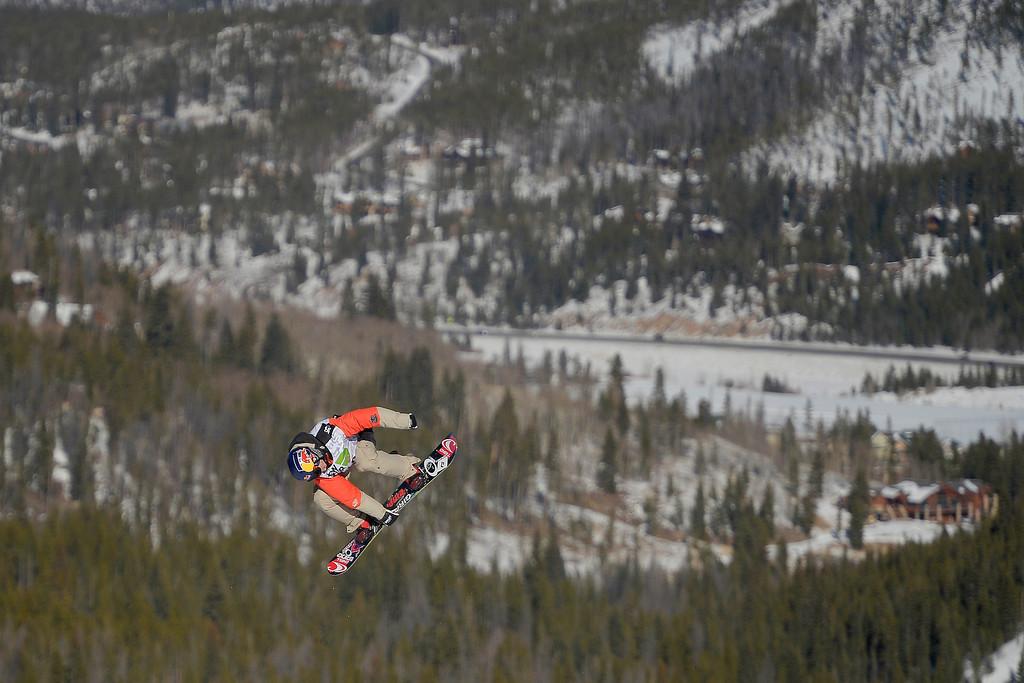 . Sebastian Toutant rides during the men\'s snowboard slopestyle at Breckenridge Ski Resort on Sunday, December 15, 2013.  (Photo by AAron Ontiveroz/The Denver Post)