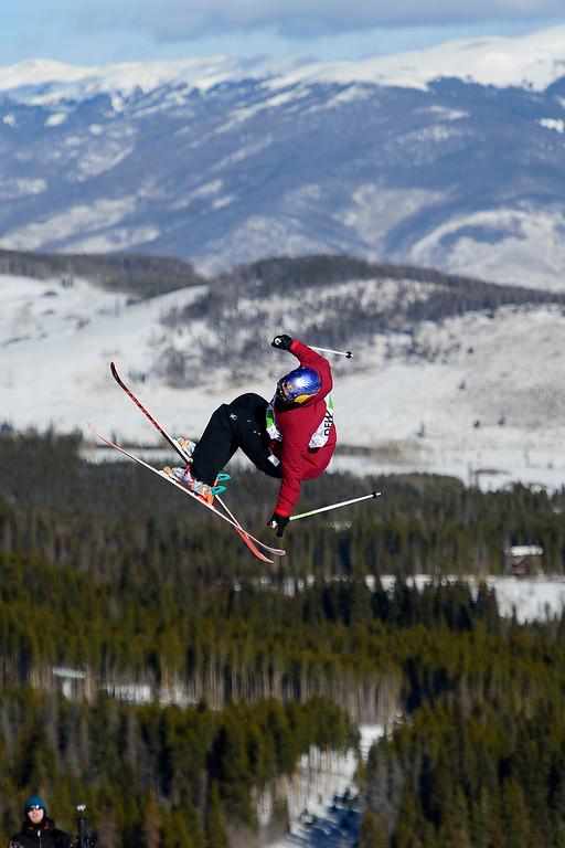 . Russ Henshaw skis during the men\'s ski slopestyle at Breckenridge Ski Resort on Sunday, December 15, 2013. (Photo by AAron Ontiveroz/The Denver Post)