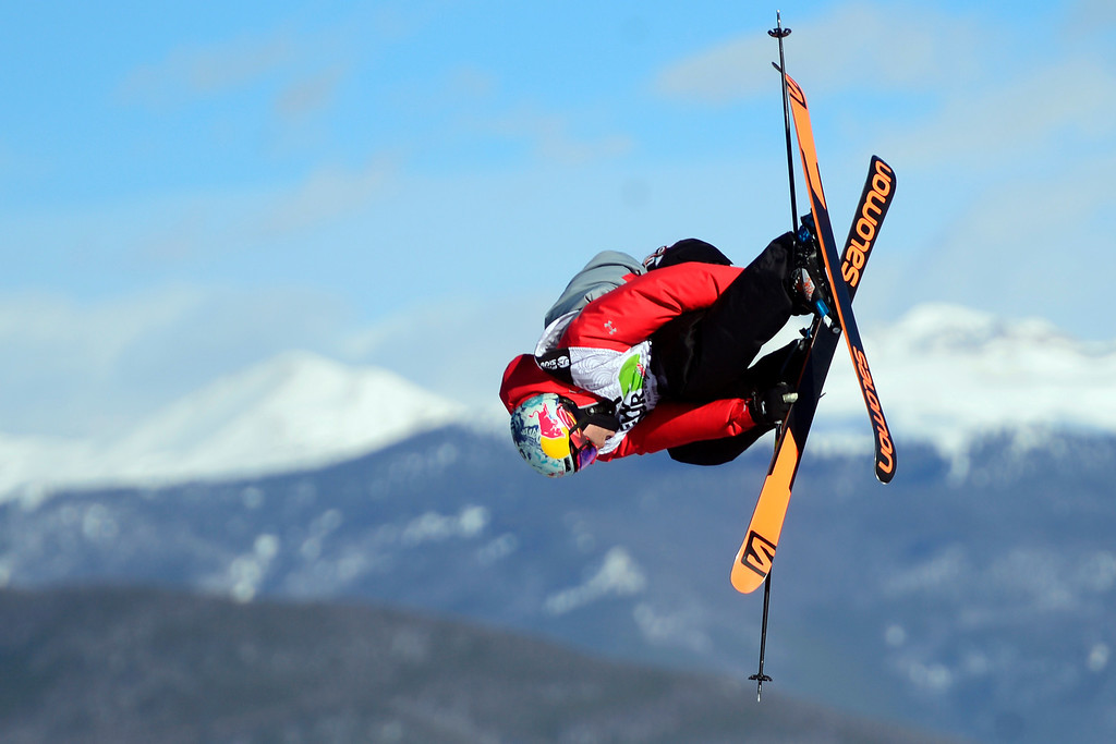 . Denver resident Bobby Brown skis during the men\'s ski slopestyle finalduring the Dew Tour men\'s ski slopestyle at Breckenridge Ski Resort on Sunday, December 15, 2013.(Photo by AAron Ontiveroz/The Denver Post)