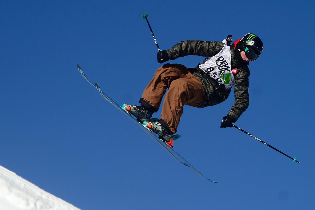 . skis during the men\'s ski slopestyle final during the Dew Tour men\'s ski slopestyle at Breckenridge Ski Resort on Sunday, December 15, 2013.(Photo by AAron Ontiveroz/The Denver Post)
