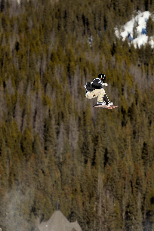 . Stale Sandbech rides during the men\'s snowboard slopestyle at Breckenridge Ski Resort on Sunday, December 15, 2013.  (Photo by AAron Ontiveroz/The Denver Post)