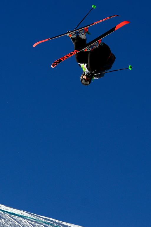 . Alex Beaulieu-Marchand skis during the men\'s ski slopestyle at Breckenridge Ski Resort on Sunday, December 15, 2013. (Photo by AAron Ontiveroz/The Denver Post)