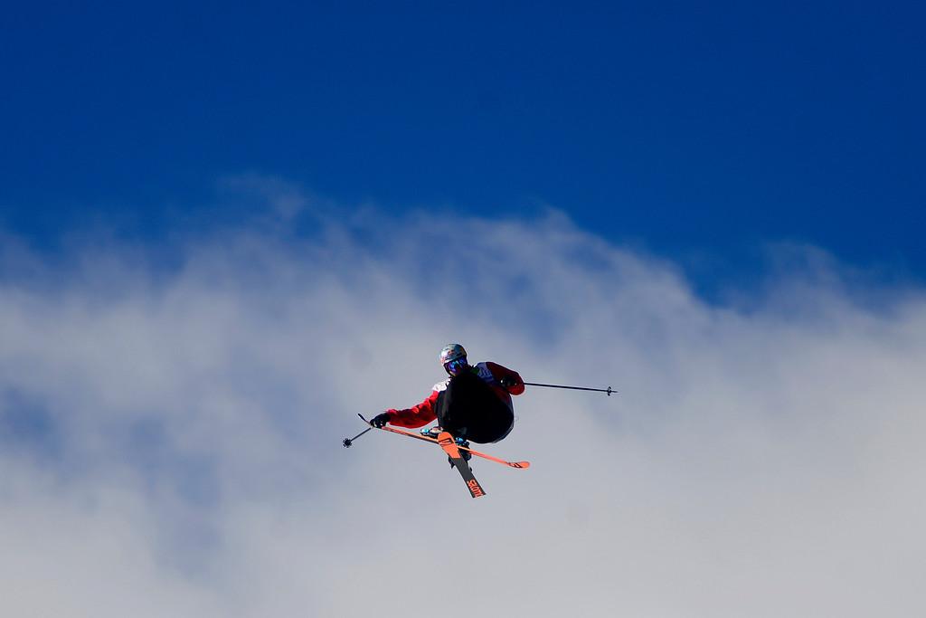 . Denver resident Bobby Brown skies as he skis during the men\'s ski slopestyle at Breckenridge Ski Resort on Sunday, December 15, 2013. (Photo by AAron Ontiveroz/The Denver Post)