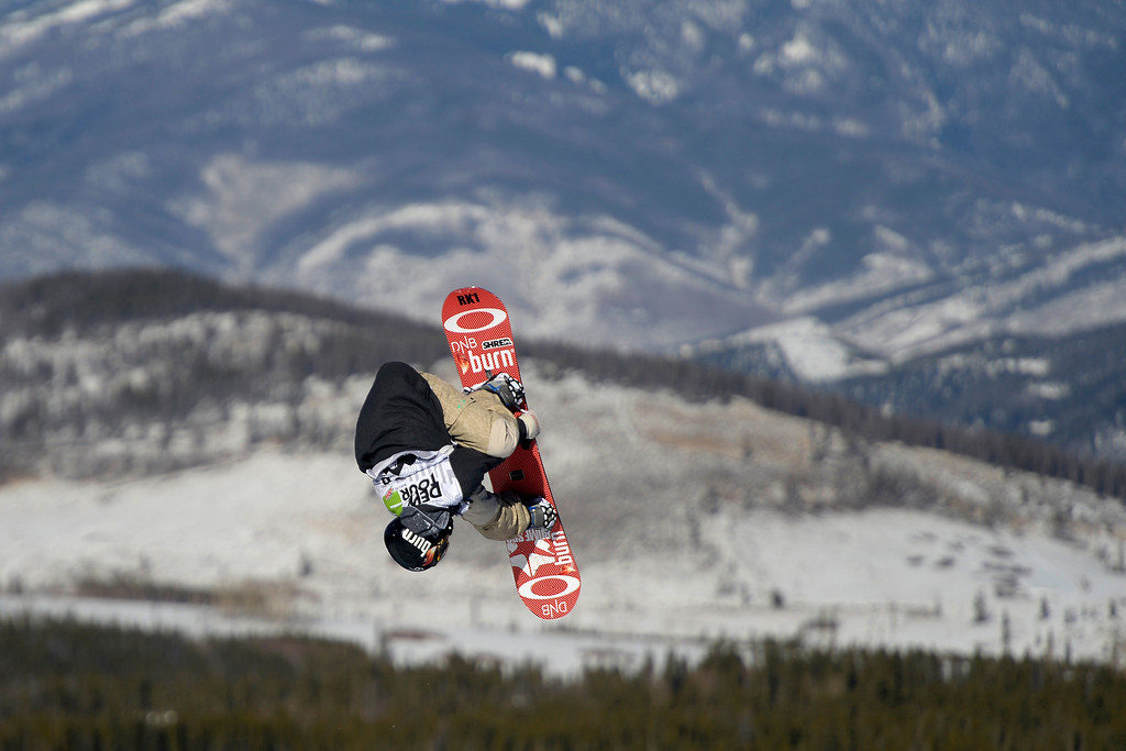 . Stale Sandbech rides during the men\'s snowboard slopestyle at Breckenridge Ski Resort on Sunday, December 15, 2013. Dew Tour men\'s snowboard slopestyle at Breckenridge Ski Resort on Sunday, December 15, 2013. (Photo by AAron Ontiveroz/The Denver Post)