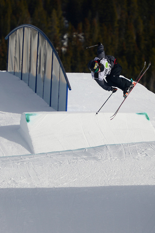 . Sammy Carlson skis during the men\'s ski slopestyle at Breckenridge Ski Resort on Sunday, December 15, 2013.(Photo by AAron Ontiveroz/The Denver Post)