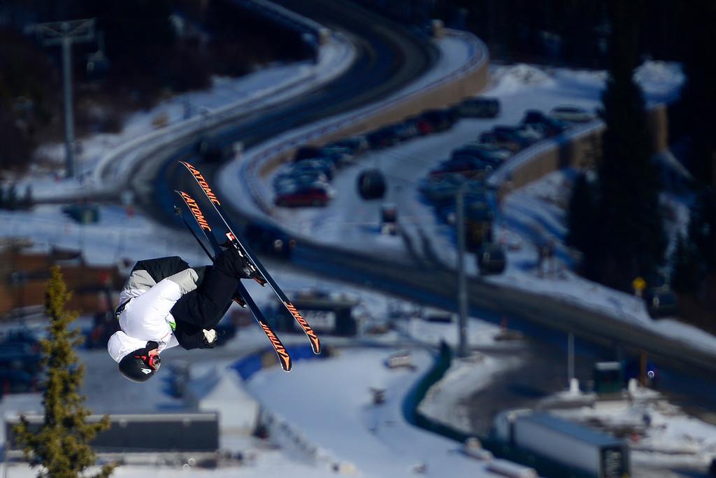 . Gus Kenworthy of Telluride skis during the men\'s ski slopestyle at Breckenridge Ski Resort on Sunday, December 15, 2013. (Photo by AAron Ontiveroz/The Denver Post)