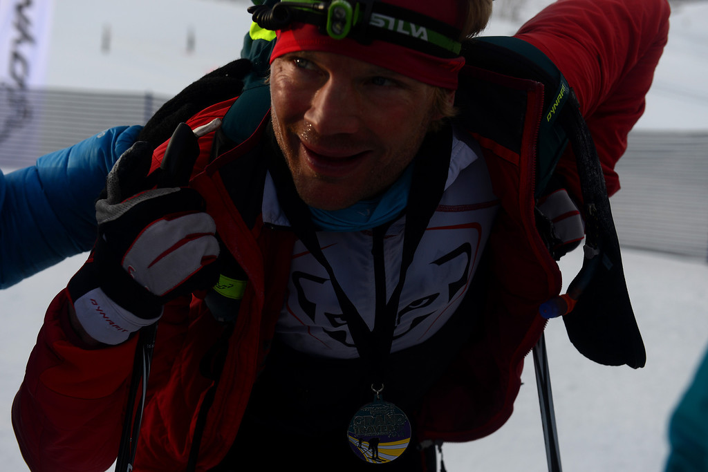 . Benedikt Boehm rests on his ski poles after finishing second place with teammate J. Marshall Thompson at the 17th Elk Mountain GORE-TEX Grand Traverse March 29, 2014. Boehm is the CEO of Dynafit, one of the sponsors of the Traverse. Traditionally the race begins at the base of Mt. Crested Butte at midnight and skiers race 40 miles over two passes to Aspen. This year due to harsh conditions the race began and ended in Crested Butte. (Photo By Mahala Gaylord/The Denver Post)