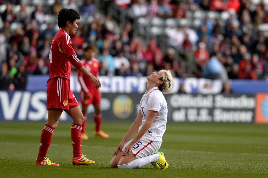 . Megan Rapinoe (15) of the U.S.A. reacts to narrowly missing a goal against China during team U.S.A.\'s 2-0 win. Dick\'s Sporting Goods Park on Sunday, April 6, 2014. (Photo by AAron Ontiveroz/The Denver Post)