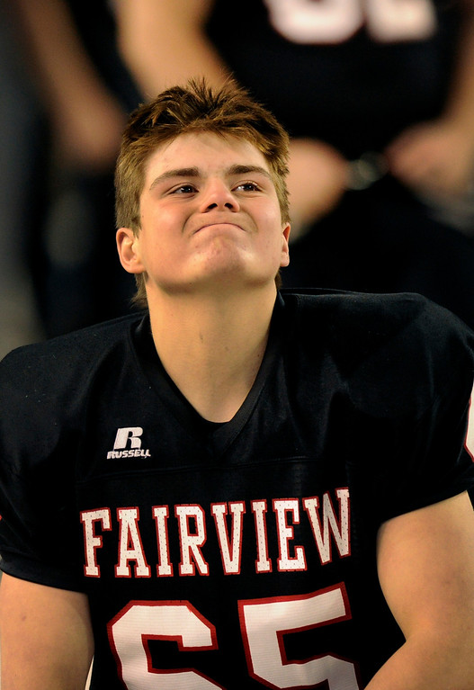 . Fairview lineman Chance Ubel reacted to a play in the fourth quarter. The Valor Christian football team rolled past Fairview 56-16 in the 5A championship game Saturday, November 30, 2013. Photo By Karl Gehring/The Denver Post