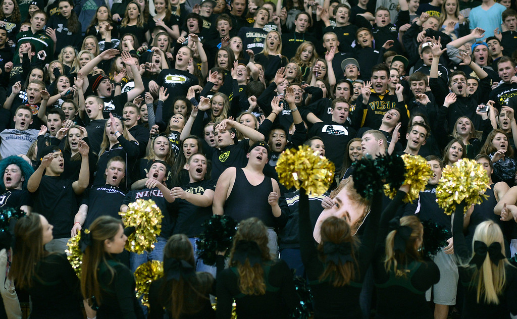 . Golden Eagles\' fans call their gym the Eagles Nest. The Mountain Vista boy\'s basketball team defeated Mountain Range 78-56 Saturday night, March 1, 2014. Photo By Karl Gehring/The Denver Post