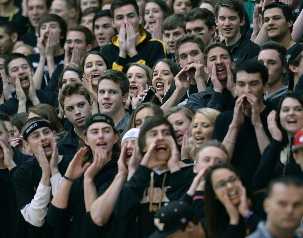 . Golden Eagles\' fans mocked the Mustangs supporters after Mountain Vista got out to big lead in the first half. The Mountain Vista boy\'s basketball team defeated Mountain Range 78-56 Saturday night, March 1, 2014. Photo By Karl Gehring/The Denver Post