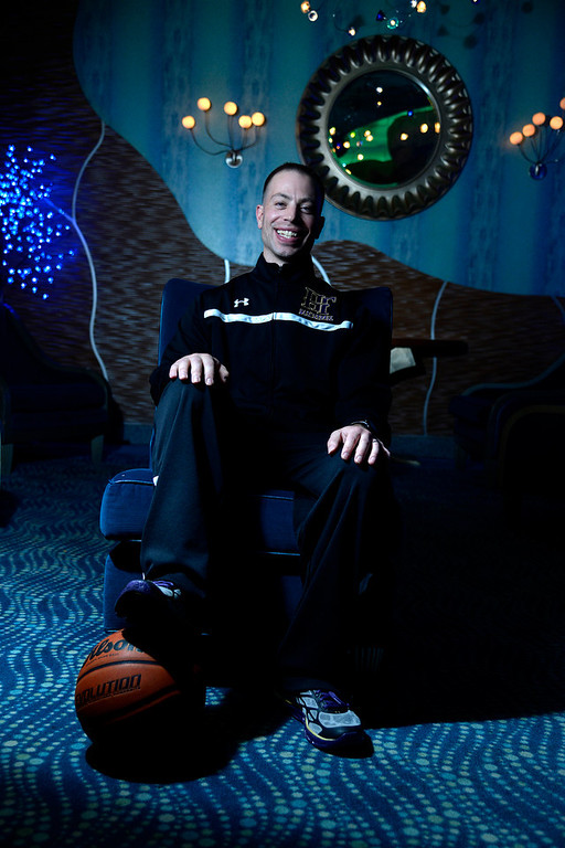 . DENVER, CO - APRIL 02: Holy Family head coach Pete Villecco poses for a portrait. All-state boys and girls basketball portraits at the Downtown Aquarium on Wednesday, April 2, 2014. (Photo by AAron Ontiveroz/The Denver Post)