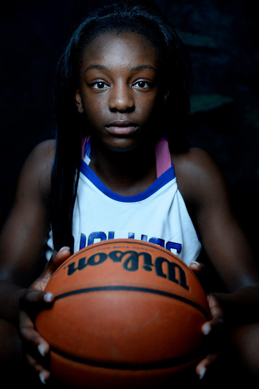 . DENVER, CO - APRIL 02: Grandview freshman Michaela Onyenwere poses for a portrait. All-state boys and girls basketball portraits at the Downtown Aquarium on Wednesday, April 2, 2014. (Photo by AAron Ontiveroz/The Denver Post)